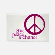 Give Peace a Chance - Pink Rectangle Magnet