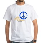 Give Peace a Chance - Blue & Orange White T-Shirt