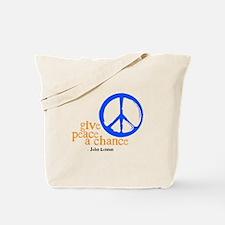 Give Peace a Chance - Blue & Orange Tote Bag