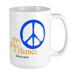 Give Peace a Chance - Blue & Orange Large Mug