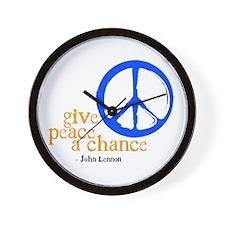 Give Peace a Chance - Blue & Orange Wall Clock