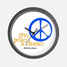 Give Peace a Chance - Blue & Orange Wall Clock