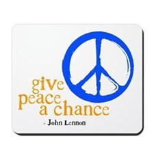Give Peace a Chance - Blue & Orange Mousepad
