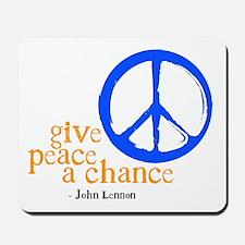 Give Peace a Chance - Blue & Orange Mousepad