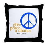 Give Peace a Chance - Blue & Orange Throw Pillow