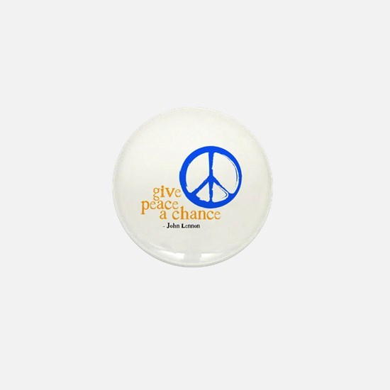 Give Peace a Chance - Blue & Orange Mini Button