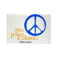 Give Peace a Chance - Blue & Orange Rectangle Magn