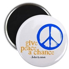 Give Peace a Chance - Blue & Orange Magnet