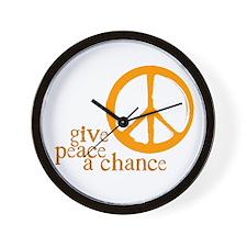 Give Peace a Chance - Orange Wall Clock