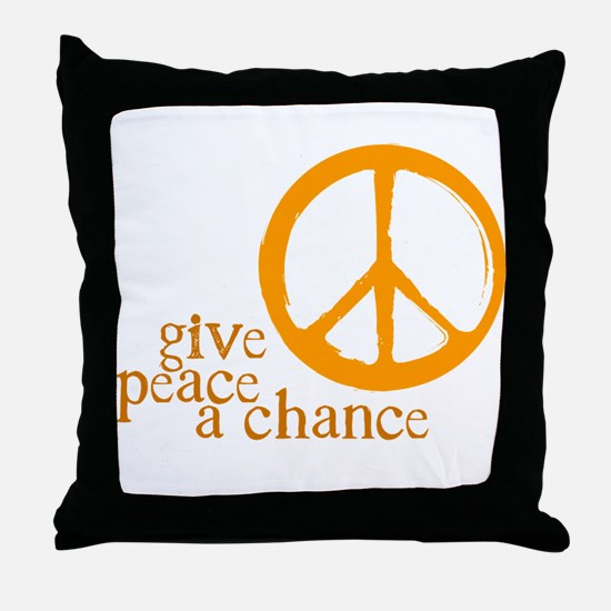 Give Peace a Chance - Orange Throw Pillow