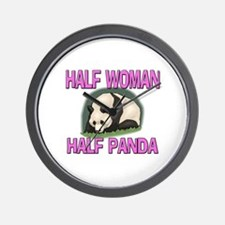 Half Woman Half Panda Wall Clock
