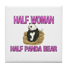 Half Woman Half Panda Bear Tile Coaster