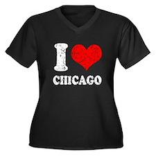 I heart Chicago Women's Plus Size V-Neck Dark T-Sh