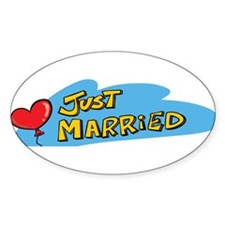 Just Married Oval Decal