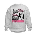 Real Girls Go Fishing Kids Sweatshirt
