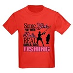 Real Girls Go Fishing Kids Dark T-Shirt