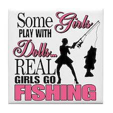Real Girls Go Fishing Tile Coaster