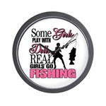 Real Girls Go Fishing Wall Clock