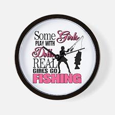 Real Girls Go Fishing Wall Clock