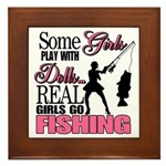 Real Girls Go Fishing Framed Tile