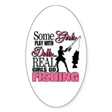 Real Girls Go Fishing Oval Decal
