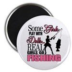 Real Girls Go Fishing Magnet