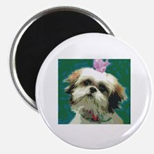 Shih Tzu with Pink Bow Magnet