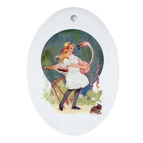 ALICE PLAYS THE QUEEN'S CROQUET Oval Ornament
