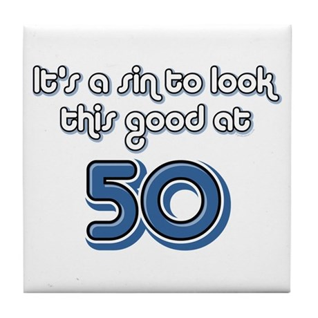 Sinful 50th Birthday Tile Coaster