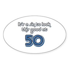 Sinful 50th Birthday Oval Decal