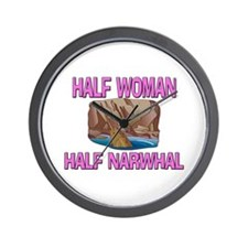 Half Woman Half Narwhal Wall Clock