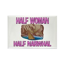 Half Woman Half Narwhal Rectangle Magnet