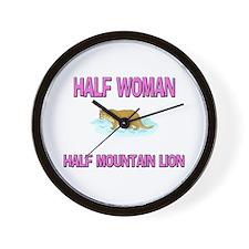 Half Woman Half Mountain Lion Wall Clock