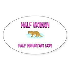 Half Woman Half Mountain Lion Oval Decal