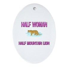 Half Woman Half Mountain Lion Oval Ornament