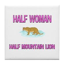 Half Woman Half Mountain Lion Tile Coaster