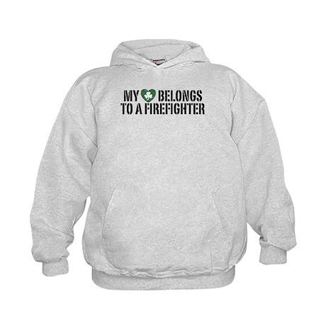 My Heart Belongs to a Firefighter Kids Hoodie