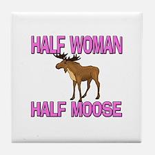 Half Woman Half Moose Tile Coaster