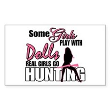 Real Girls Go Hunting Rectangle Decal