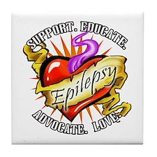 Epilepsy Tattoo Heart Tile Coaster