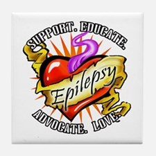Epilepsy Tattoo Heart Tile Coaster