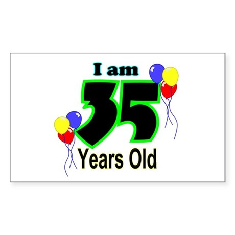 35th Birthday Rectangle Sticker