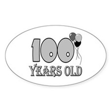 100th Birthday GRY Oval Decal