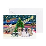 XmasMagic/4 Shih Tzus Greeting Cards (Pk of 10)