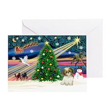 XmasMagic/Shih Tzu pup Greeting Card