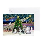 Xmas Magic / 5 Shih Tzus Greeting Card