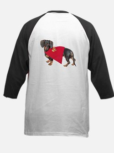 Super Dachshund Dog Kids Baseball Jersey