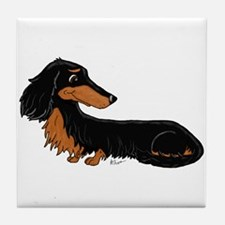 Black Tan Dachshund Tile Coaster