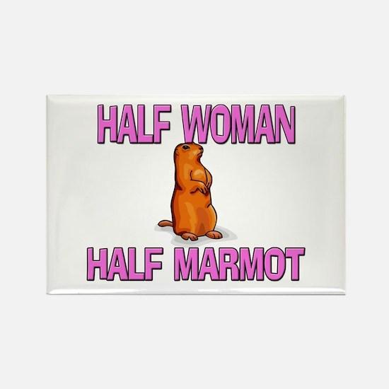 Half Woman Half Marmot Rectangle Magnet