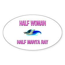 Half Woman Half Manta Ray Oval Decal